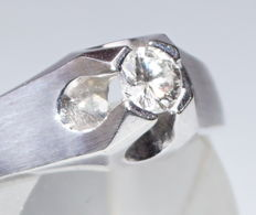 Solitaire ring 14kt white gold, brilliant K/VSI1/0.31kt