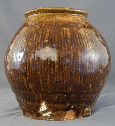 Storage Jar - 15 cm high with Striped decoration