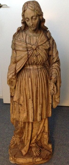 A carved lime-wood image of a female Saint - Italy - 19th century