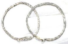Pair of Ancient Celtic Twisted Silver Bracelets / bangles - 47-49mm