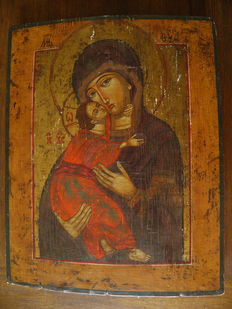 Very beautiful Mother of God icon - Russia - late 19th century