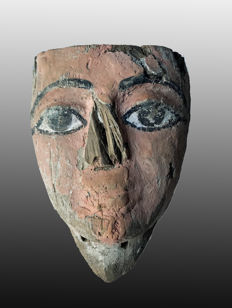 Ancient Egyptian wooden mummy mask, polychrome, with light red pigment - 7 Inches, 17.5 cm.