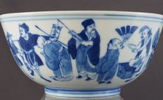 Bowl with decoration of 17 characters with different attributes and crafts - China - 19th century
