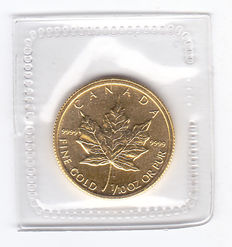 "Canada – 5 Dollars 1991 ""Maple Leaf"" – 1/10 oz gold."