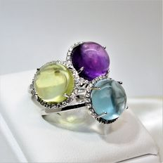 Set of 3 rings in white gold with diamonds and Topaz, Citrine, Amethyst cabochon stones of 10 mm in diameter