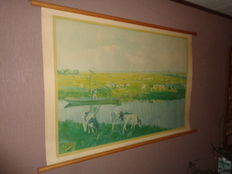 """Old school board/school map on linen with the title """"Meadow landscape at Schiedam"""""""