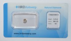 0.25 ct, brilliant cut diamond, RW+ (F), SI2