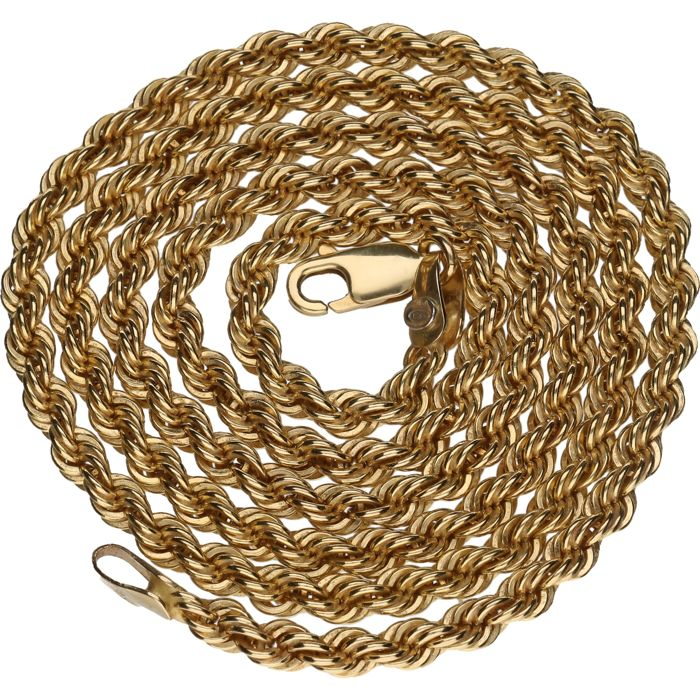 14 kt yellow gold decorated curb link necklace - Length: 51 cm