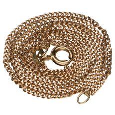 Yellow gold fine curb link necklace in 14 kt.