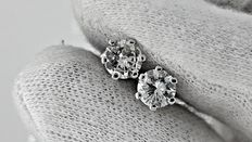 1.10  ct D/SI1  round diamond stud earrings 14 kt white gold  ***No Reserve price***