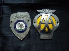 2 original metal plaques: S.W.A.C and AA - 1940/50s