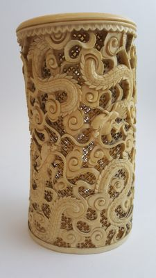 Ivory cylinder brush holder - China - 19th century
