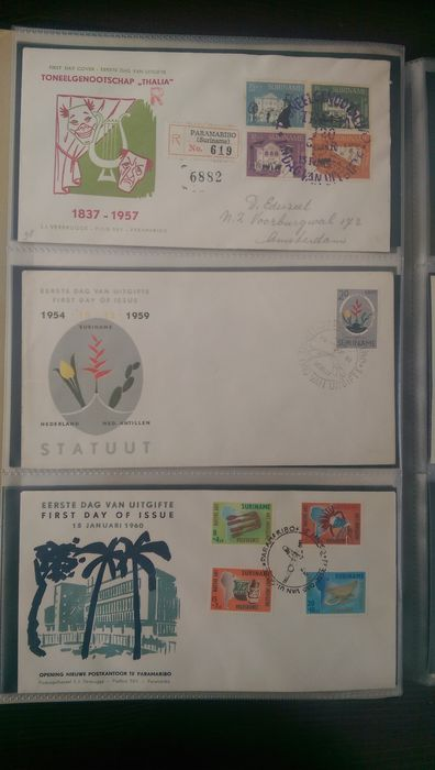 Suriname 1923/1998 – Extensive collection of stamps, FDCs, sheets and combinations
