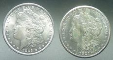 United States of America – USA – Morgan 1881P and 1921 S Silver