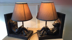 book stands, bronze reading dog with lamp shade