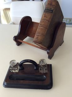 Mahogany Victorian ink set and bookshelf - England - ca 1890