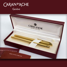 "Caran D' Ache Madison II ""Clou de Paris"" guillochè gold-plated Rollerball and Fountain Pen Set"
