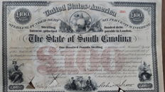 "United States of America, The State of South Carolina, £ 100 Sterling ""Cotton"" Bond, 1871  Signed By Robert Scott"