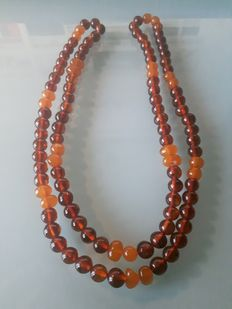 Japa Mala long necklace, natural Baltic amber beads Ø 8 mm, 30 grams