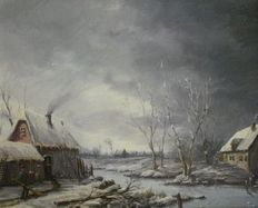 Gien Brouwer (1944-) - Winter landschap in de polder