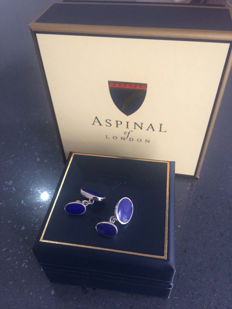 Bespoke Lapis Lazuli cufflinks by Aspinal of London - 925 silver