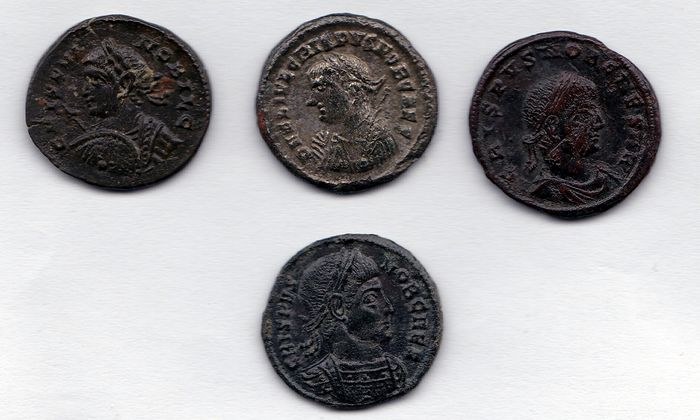 Roman Empire - 4 different AE coins of emperor Crispus (317 - 326 A.D.) - 3x bronze, 1x silver plated