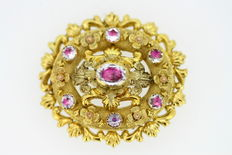 Antique 15K Yellow Gold Brooch / Pendant, With Natural Pink Paste ( 2.2 CT Total ), 1870's