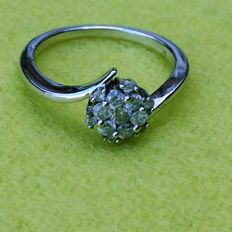 9K White Gold SGL Certified Diamond Floral Ring Size M