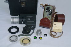 Canon Reflexzoom 8-3 8mmcamera ( 1959) and Eumig Electric 8mm camera ( 1955) + accessories