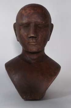 Oak bust of a man, late 19th century
