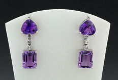 A pair of amethysts - brilliant - earrings - 11.58 ct 750 white gold - no reservation