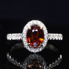 18k white gold ring with 1.30 ct natural Garnet centerstone and 0.35 ct natural diamonds. **NO RESERVE PRICE**