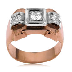 Art Deco tank ring in white and pink gold with 0.43 ct diamond Ring