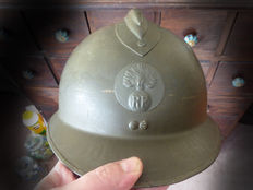Original French Adrian helmet with chin strap and inner lining