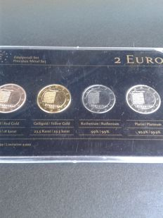 Luxembourg - 2 Euro 'Precious Metal Set' 2013 Nationalhymne (4 different coins)