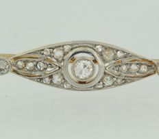 14 kt bicolour gold brooch set with Bolshevik and rose cut diamonds