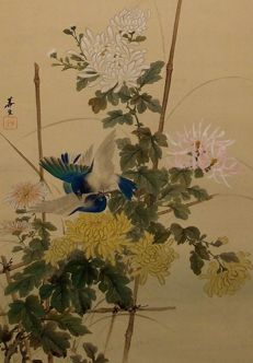 Chinese birds and chrysanthemum  - Japan - first half of 20th century