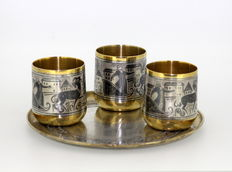 Russian Solid Silver and Niello Shot Glasses and Plate