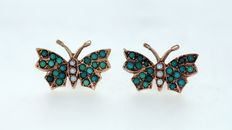 Antique ( 1880 ) 15K Yellow Gold Ladies Stud Earrings With Natural Turquoise and Seed Pearl