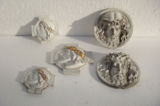 5 antique Porcelain Christ Heads with Thorns