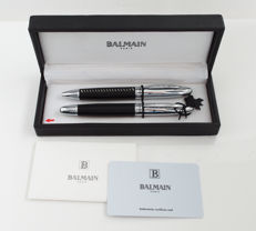 BALMAIN: luxury writing set: ballpoint and rollerball, with leather grip icm high gloss chrome with giftbox in leather