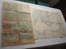 "Third Reich; Lot with 2 x old original maps, 1941/1942 ""Eastern Europe and Middle East"" and ""The Eastern Mediterranean including Greece, Turkey and Egypt"" 2. world war"