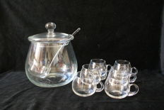 Exclusive Glass Punch Bowl - spoon - 6 cups - ART DESIGN