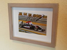 Max Verstappen - Masters of F3 - Historic victory at Zandvoort - Original autographed 3D framed photo of Max Verstappen in the lap of honour with Dutch flag + COA.