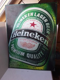 Advertising sign for Heineken made of tin. 1994
