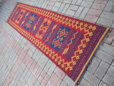 3150 # SUPER QUALITY TRIBAL HAND WOVEN LAMB WOOL KILIM RUNNER 77 x 304 CM