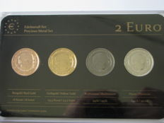 Italy - Precious Metal Set - 2 Euro 'Giovanni Boccaccio' 2013 (4 different coins)