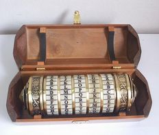 Encrypted container in metal with hidden compartment in its interior