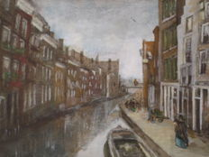 Carl Moser (1873-1939)-Canal Rotterdam with persons