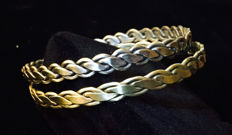 14K Gold & Sterling Silver Braided Bangle Bracelethry